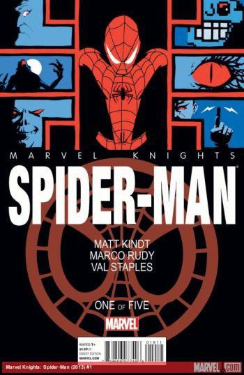 Yes, I'm still not done praising this book. The composition of this cover is beautiful; the abstract elements on the side, faded Spidey in the back, and clever use of negative space that shouldn't work, but does. And the dark, almost art-deco coloring is lovely.