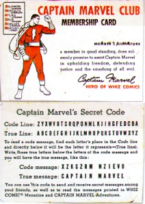 Captain Marvel Club Membership Card and Secret Code
