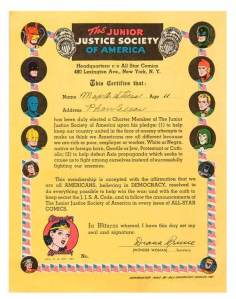 Junior Justice Society of America Membership Certificate