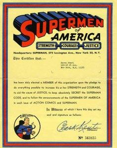 Supermen of America Membership Certificate