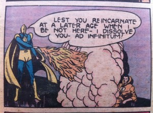 In All-Star Comics #3, Dr. Fate projects flames...