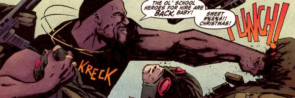 luke cage hits bad guys while yelling a variation of his catchphrase sweet christmas