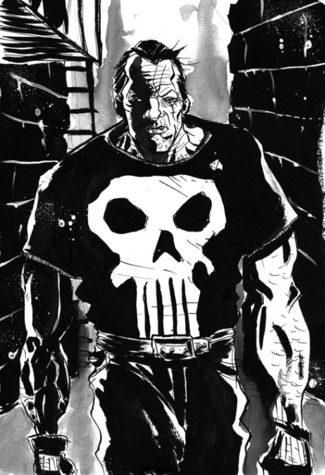 Variant black-and-white cover for THE PUNISHER: GUNS KILL A LOT OF PEOPLE #1 by Jeff Lemire