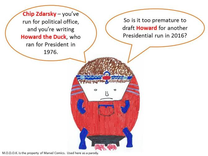 M.O.D.O.K. Interviews Chip Zdarsky about Howard the Duck's Political Future