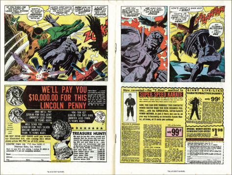 One of Marvel's past half-page double-spread ads  (Source: SLAY, MONSTROBOT OF THE DEEP blog)