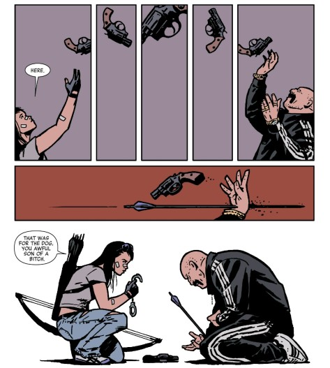 From Hawkeye #22 by David Aja