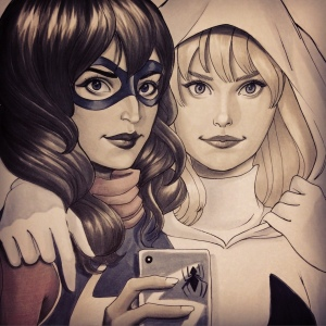 Ms Marvel & Spider-Gwen Selfie Chrissie Zullo