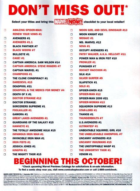 Marvel NOW! Checklist