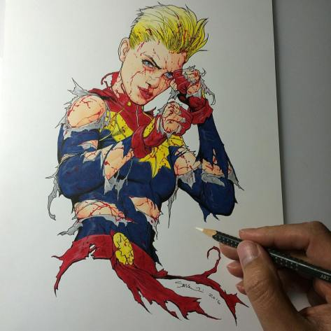 Captain Marvel still standing Steve McNiven