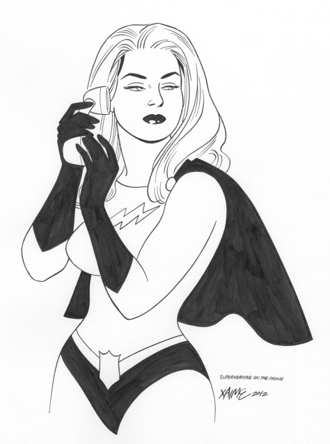 Superheroine on the Phone Jaime Hernandez