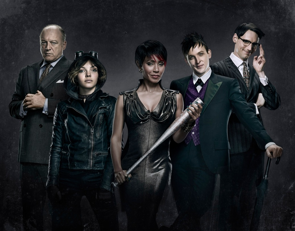 GOTHAM: L-R: John Doman as Carmine Falcone, Camren Bicondova as Selina Kyle, Jada Pinkett Smith as Fish Mooney, Robin Lord Taylor as Oswald Cobblepot and Cory Michael Smith as Edward Nygma star as the villains of GOTHAM. GOTHAM premieres Monday, Sept. 22 (8:00-9:00 PM ET/PT) on FOX. ©2014 Fox Broadcasting Co. Cr: Justin Stephens/FOX