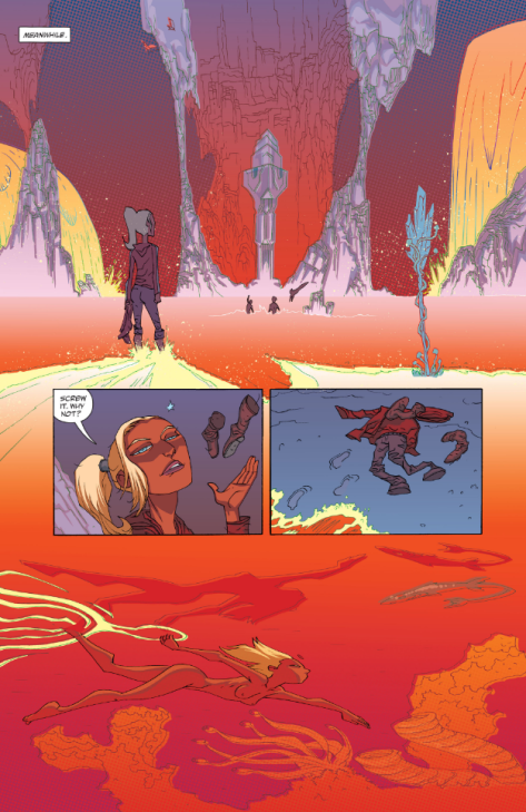 From Cave Carson Has A Cybernetic Eye #5 by Michael Avon Oeming & Nick FIlardi