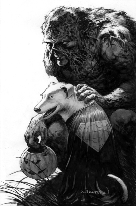 Swamp Thing and Krypto Bernie Wrightson